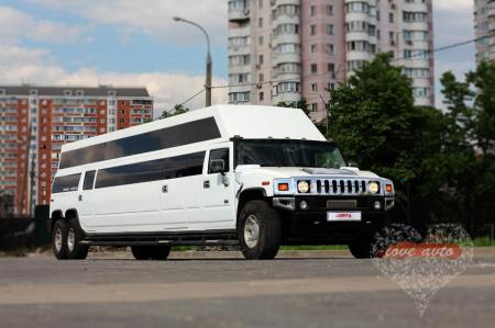 Прокат Лимузин Hummer H2 Mega 30 мест, крыша в полный рост на свадьбу